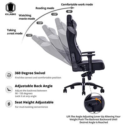 KILLABEE-Big-and-Tall-400lb-Memory-Foam-Gaming-Chair-adjustments