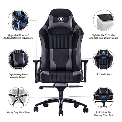 Remarkable Killabee Big And Tall 400Lb Memory Foam Gaming Chair Review Theyellowbook Wood Chair Design Ideas Theyellowbookinfo