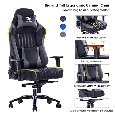 Admirable Killabee Big And Tall 400Lb Memory Foam Gaming Chair Review Caraccident5 Cool Chair Designs And Ideas Caraccident5Info